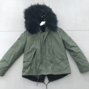 Jackets & Blazers - Military Style Coat with Fur